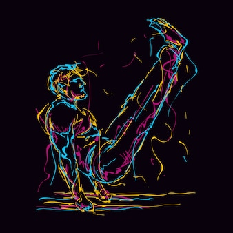 Abstract fitness man doing v sit illustration