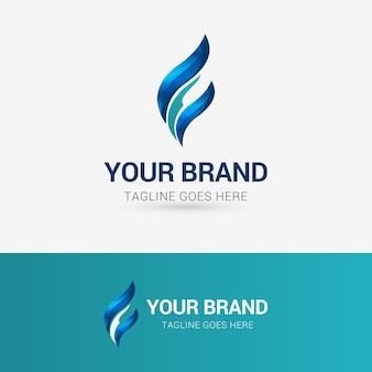 Abstract flame finance logo