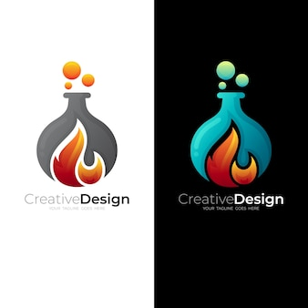 Abstract flame logo template, laboratory icon