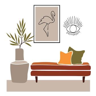 抽象的なフラミンゴと目の形のミラーカットアウトスタイルの抽象的な要素を持つモダンな自由奔放に生きるインテリア