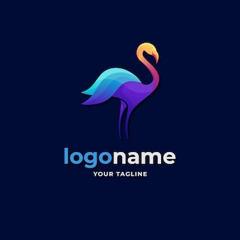 Abstract flamingo logo gradient style for elegant boutique and beauty fashion