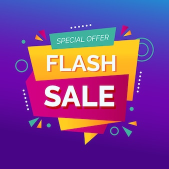 Abstract flash sale promotion banner Free Vector