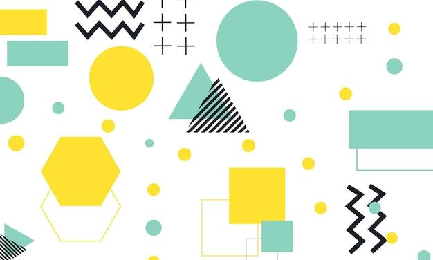 흰색 배경에 멤피스 스타일의 추상 평면 파란색, 노란색 및 검정색. 귀하의 아이디어에 대한 샘플입니다.