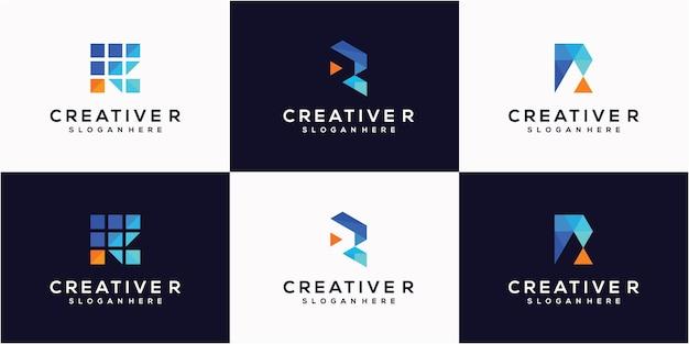 추상 평면 디자인 편지 r 로고 벡터 간단한 색상과 현대적인 스타일