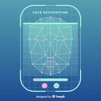 Abstract flat face recognition background