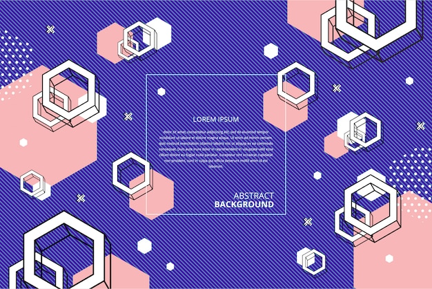 Abstract flat geometric hexagon background