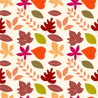 Abstract flat hand draw autumn leaves background. vector illustration.