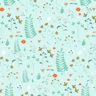 抽象的な平らな手描き花柄の背景ベクトル図
