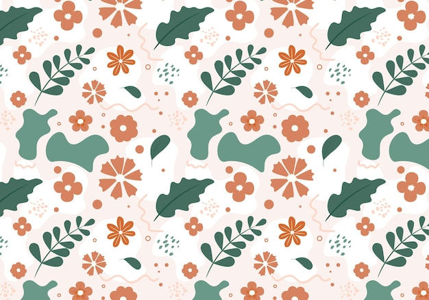 Abstract flat hand draw floral pattern background. vector illustration.