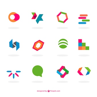 Abstract flat logos set
