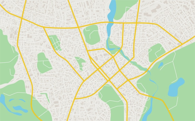 Abstract flat map of city. plan of town. detailed city map.