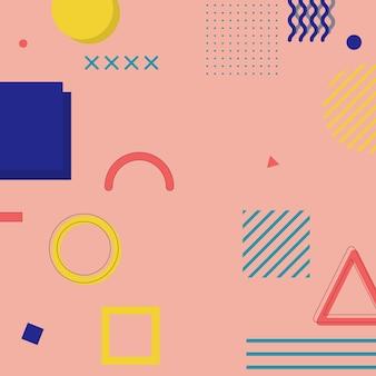 抽象的な平らなメンフィスの背景。ベクトルイラスト。抽象的な背景。