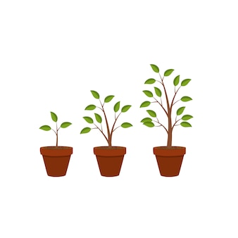 Абстрактный плоский характер растений рост графический фон, ve