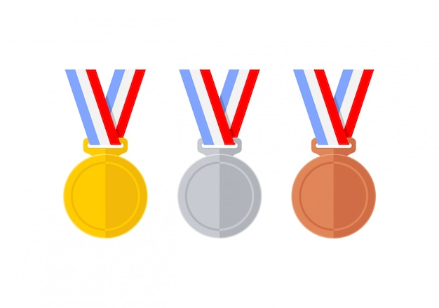 Abstract flat style medals set