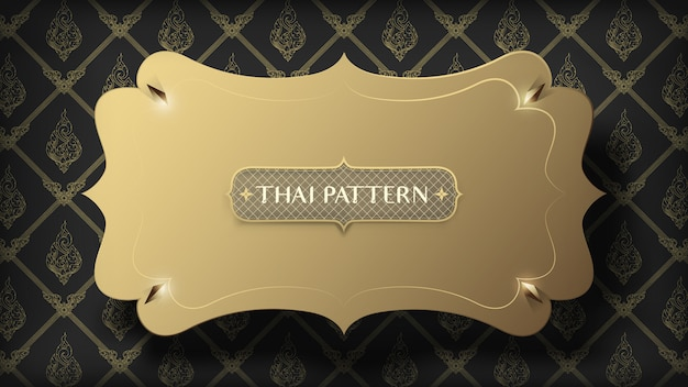 Abstract floating golden frame on traditional gold thai pattern on dark background
