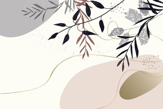抽象的な花の背景植物要素ゴールドのテクスチャラインミニマリストとパターン