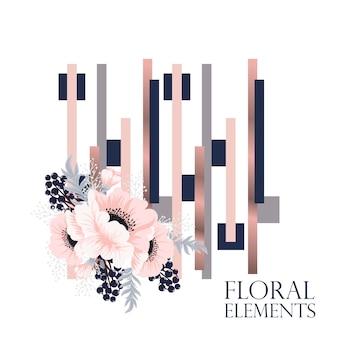 幾何学的要素を持つ抽象的な花の背景のデザイン