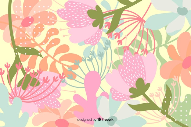 Abstract floral background in hand drawn