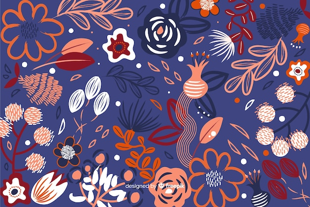 Abstract floral background in painted style