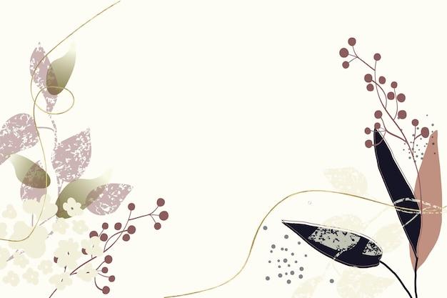 植物の要素を持つ抽象的な花の背景ゴールドのテクスチャラインのミニマリストとパターン