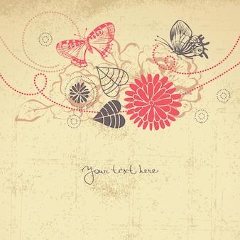 나비와 추상 꽃 배경