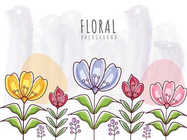 カラフルな花と葉を持つ抽象的な花の背景。