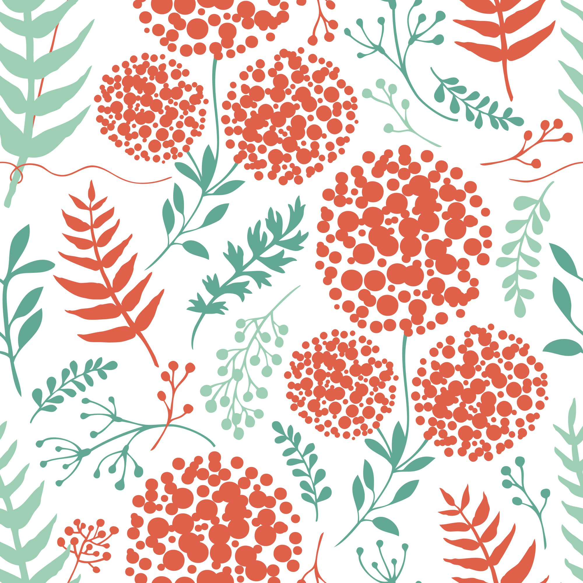 Abstract floral background with green and red fern leaves
