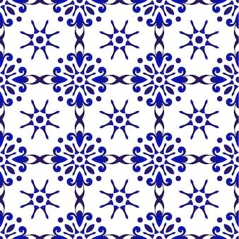Абстрактный цветочный синий узор