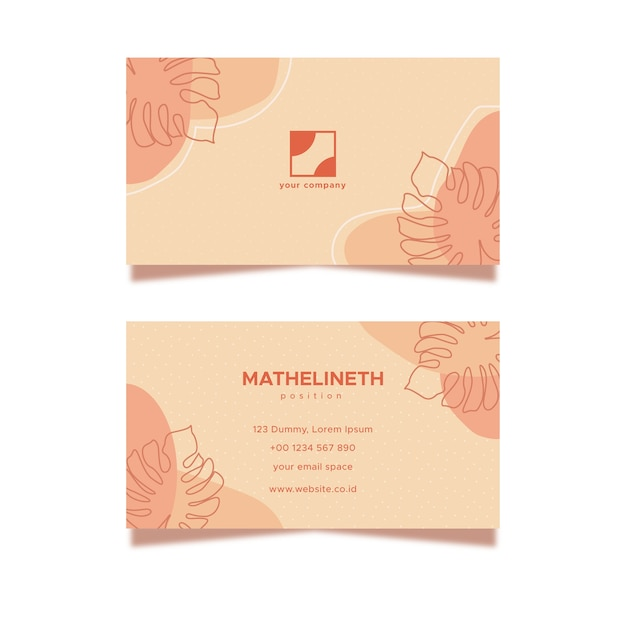 Абстрактный цветочный шаблон визитной карточки в пастельных тонах