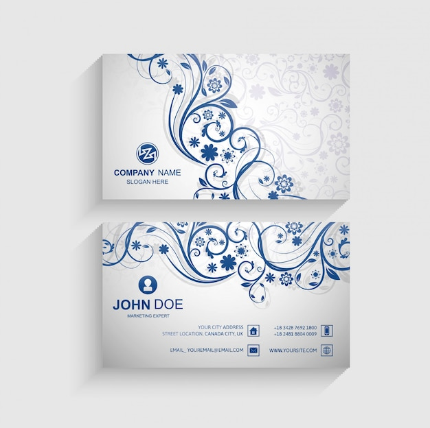 Abstract floral business card template