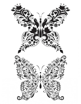 Abstract floral butterflies  on white background