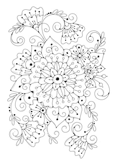 추상 꽃 색칠 페이지