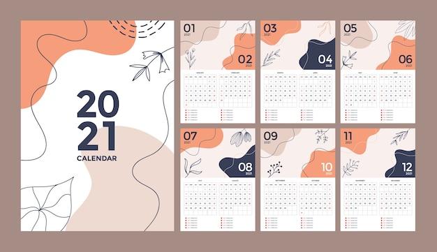 Абстрактный цветочный креативный дизайн настенного календаря с началом недели в воскресенье