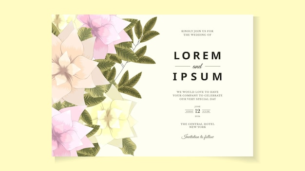 抽象的な花の花の結婚式の結婚イベントの招待カードのテンプレート