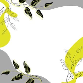 Абстрактная цветочная рамка, украшенная силуэтными ветками желтого и черного цвета шаблон для дизайна Premium векторы