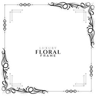 Abstract floral frame white elegant background vector