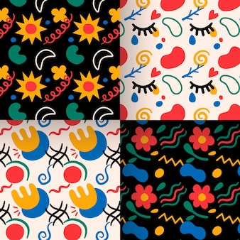 Abstract floral hand drawn pattern collection