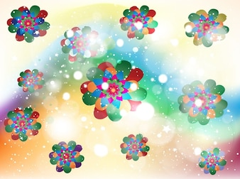Abstract floral kaleidoscope sparkle background