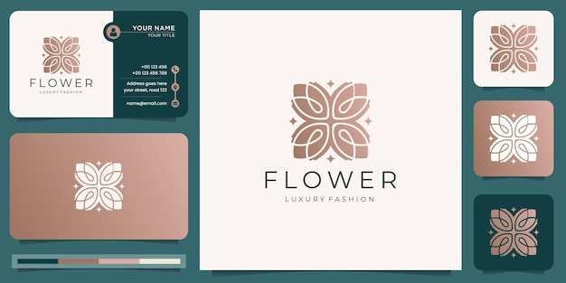 Abstract floral logo design and business card template. linear flower logo, luxury fashion concept.