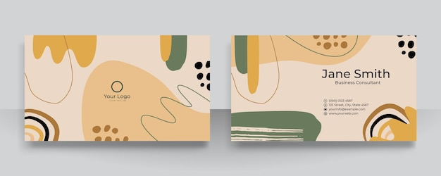 名刺の抽象的な花の有機的な形の背景。現代のモダンな手描きのベクトルイラスト。