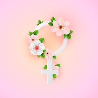 추상 꽃 종이 컷 스타일 인사말 카드. 세계 여성의 날.