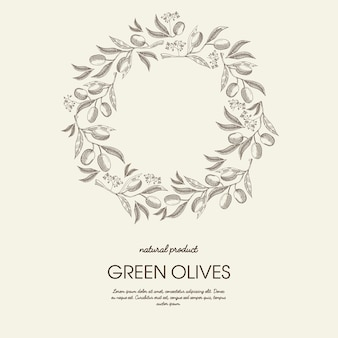 Abstract floral round wreath light poster with text and green olives branches in sketch style