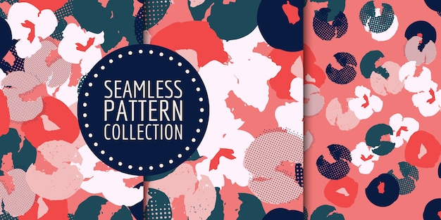 Abstract floral seamless pattern collection