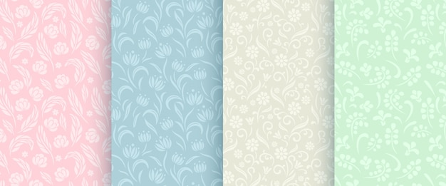 Abstract floral seamless pattern collection.
