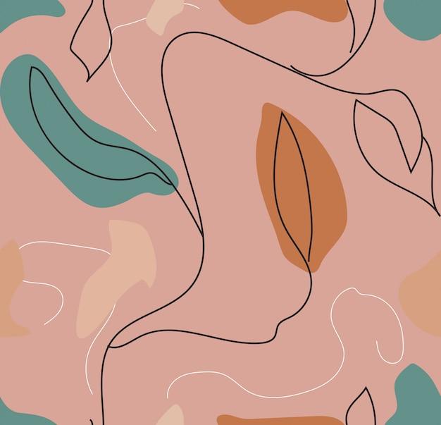 モダンなレトロな流行に敏感なスタイルで抽象的な花柄シームレスパターン。図