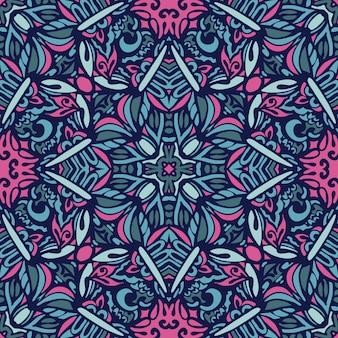 추상 꽃 원활한 패턴 장식입니다. 축제 화려한 배경 디자인입니다. 기하학적 민족 꽃 모자이크 장식