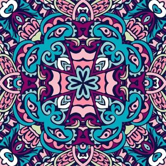 抽象的な花柄シームレス パターン装飾。お祝いのカラフルなデザイン。