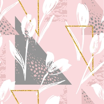 Abstract floral seamless pattern tulips.