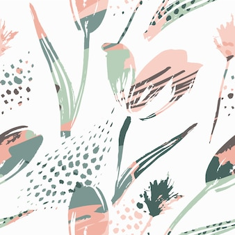 Abstract floral seamless pattern tulips
