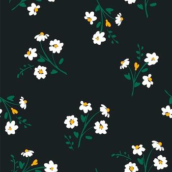 カモミールと抽象的な花のシームレスなパターン。トレンディな手描きのテクスチャ。